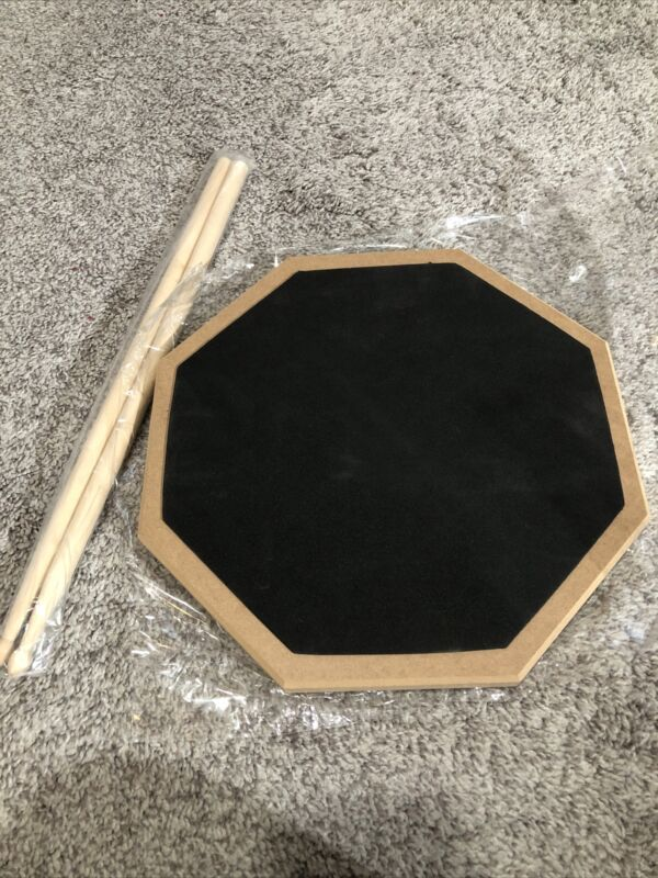 12-inch, 2 Sided Silent Drum Practice Pad (Black), with 5A DrumSticks NEW