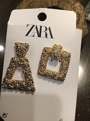Zara Miss Matched Textured Geometrical Earrings Gold Pierced