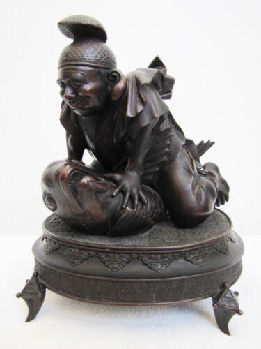 Antique Japanese Meiji Period 1800's-1900's Man & Big Koi Fish Bronze Figurine