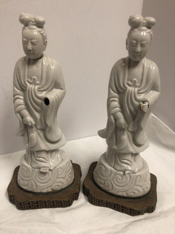 ANTIQUE China White Porcelain Asian STATUES