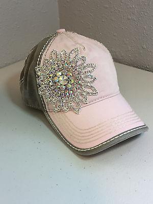 Bling Womens Hat Fashion Accessory Pink Clear Ab Crystal Rhinestone Baseball Hat