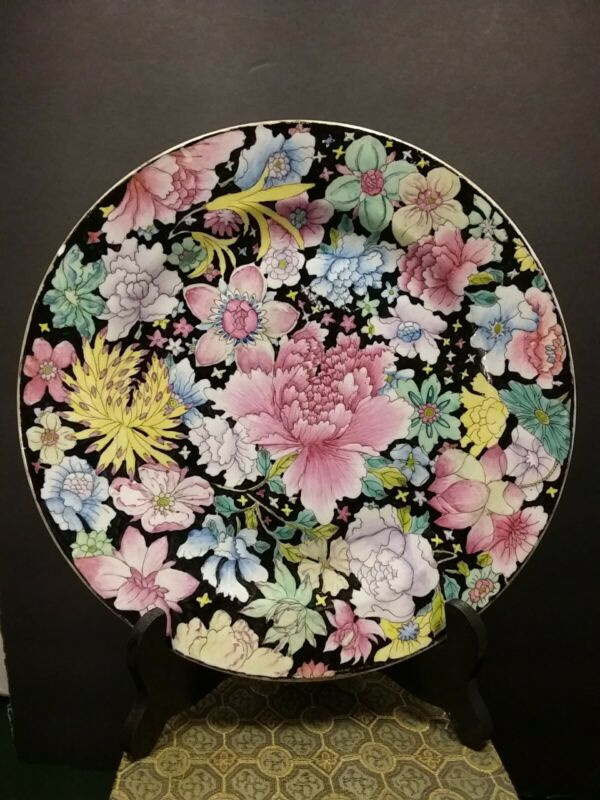 Old Chinese Porcelain Plate Mille Fleur Dish with Mark