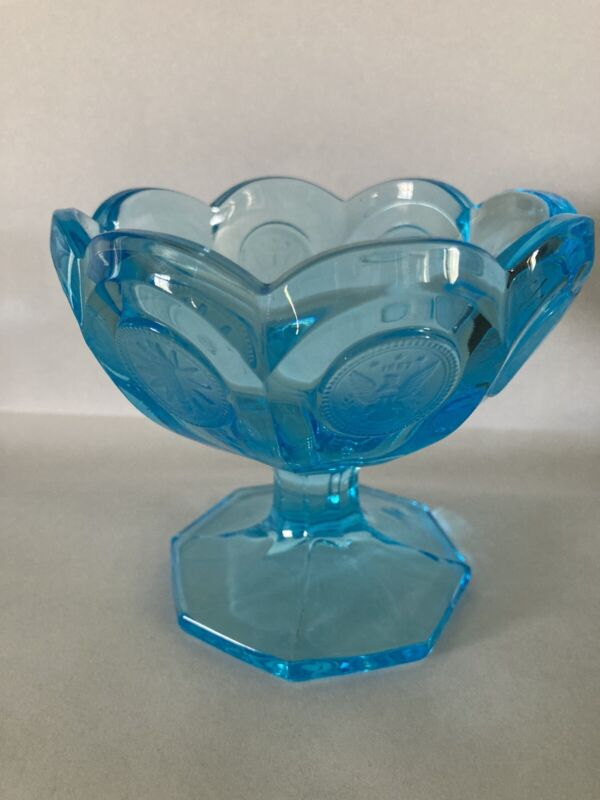 Vintage Fostoria Blue Coin Dot Glass Footed Candy Dish
