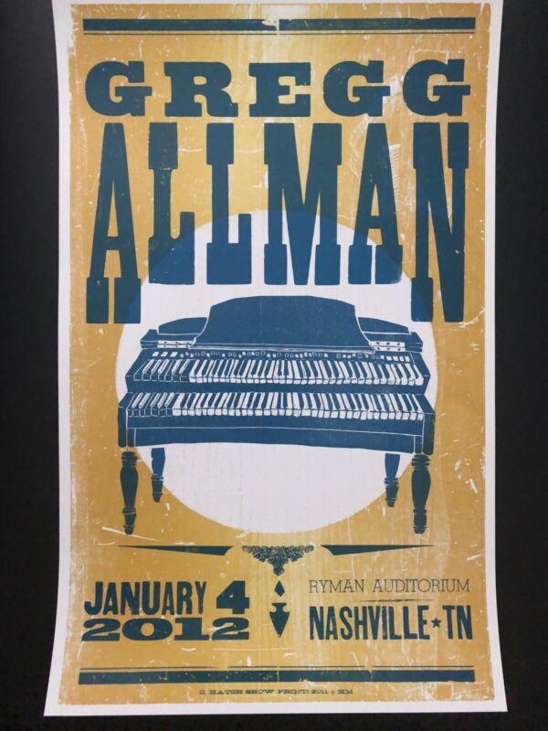 Greg Allman Hatch Show Print Poster Ryman Auditorium Nashville. Allman Brothers