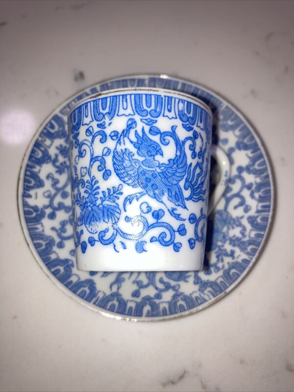 Vintage Blue and White Asian Phoenix Motif Demitasse Cup and Saucer