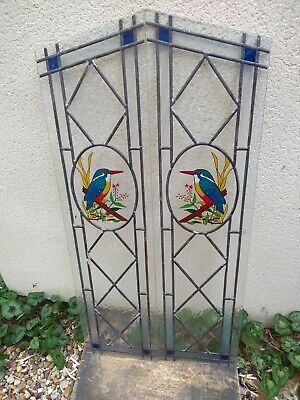 . 2 leaded light kingfisher stained glass window panels.