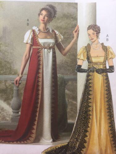 BRIDGERTON Regency GOWN Empire Waist COSTUME Butterick B4890 Sz 6-12 UNCUT