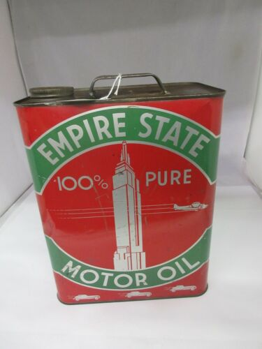 VINTAGE EMPIRE STATE TWO GALLON SERVICE STATION OIL TIN CAN AUTOMOBILIA  A-139