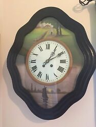BEAUTIFUL ANTIQUE FRENCH COUNTRY WALL CLOCK, HAND PAINTED FACE
