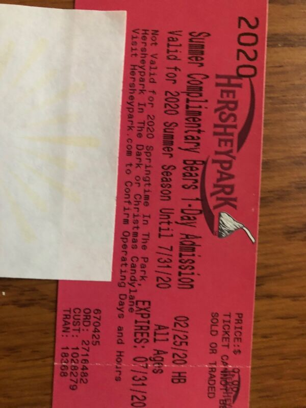 27 Hershey Park One Day Passes Expire 7/31/2020