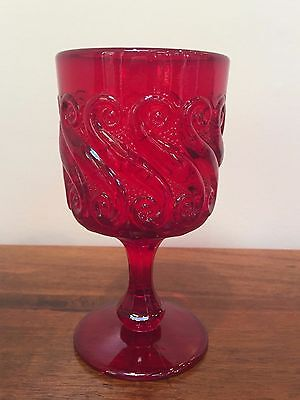 Vintage L G Wright RUBY 'S' Pattern Water Goblet