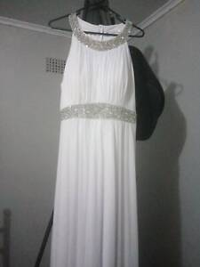 white formal dress with diamonds