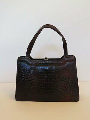 1950s Handbags, Purses, and Evening Bag Styles Vintage Bag - Crocodile Effect Leather Bag - 1950s $50.34 AT vintagedancer.com