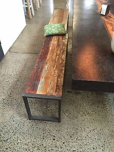 Industrial timber and iron bench seat- Frenchs Forest Warringah Area Preview