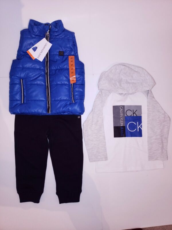 CALVIN KLEIN Hooded Top Vest and Jogger Pants Set of 3 Size 24M NEW