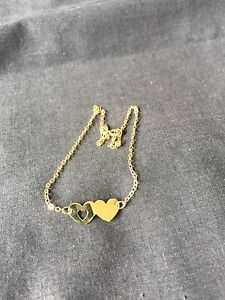 10k Yellow Gold Heart Anklet
