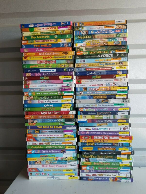 Wholesale Lot Of 70 Kids DVDs USED Includes Disney Nickelodeon ETC.