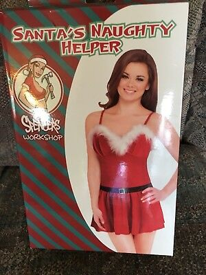 Santa's Naughty Helper Velours Chemise W/ Fur Trim Dress -size Large