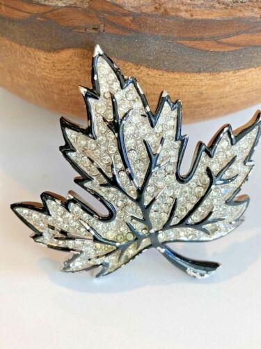Vintage  Silver Rhinestone and Black Paint Maple Leaf Pin Brooch