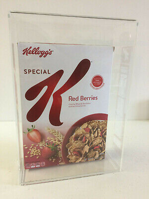 Cereal Box Acrylic Display Case With Wall Mount And Removable Sliding Bottom