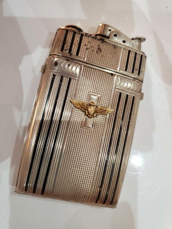 VINTAGE Evans Working Cigarette Case & Lighter Silver, MILITARY LOGO  3053/16