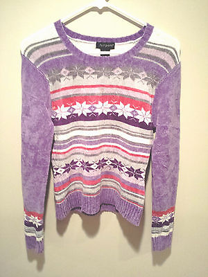 Kids Ugly Christmas Sweater (Vintage Ugly Christmas Sweater Tacky - Kids XL Purple Airport Snowflake)