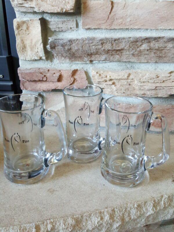 PASO FINO CLEAR GLASS BEER MUG HORSE SET OF 3