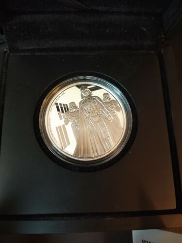 2016 NZ /NIUE MINT - DARTH VADER - 1 OZ PURE SILVER - $2 COIN - SOLD OUT COA BOX