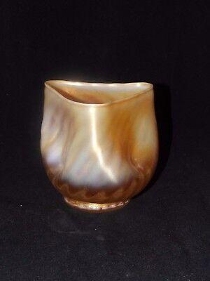 Dugan Glass Iridescent Luster Carnival Tri Fold Vase