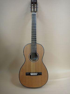 Caraya Parlor Guitar 610 Natural Cedar with EQ + Free Gig Bag + Strings