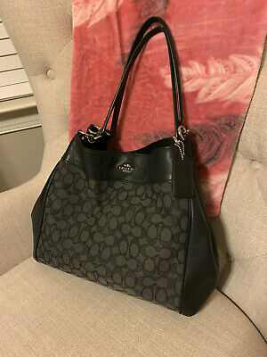 Authentic Coach Lexy Shoulder Bag Purse in Outline Signature Blacksmoke/Black