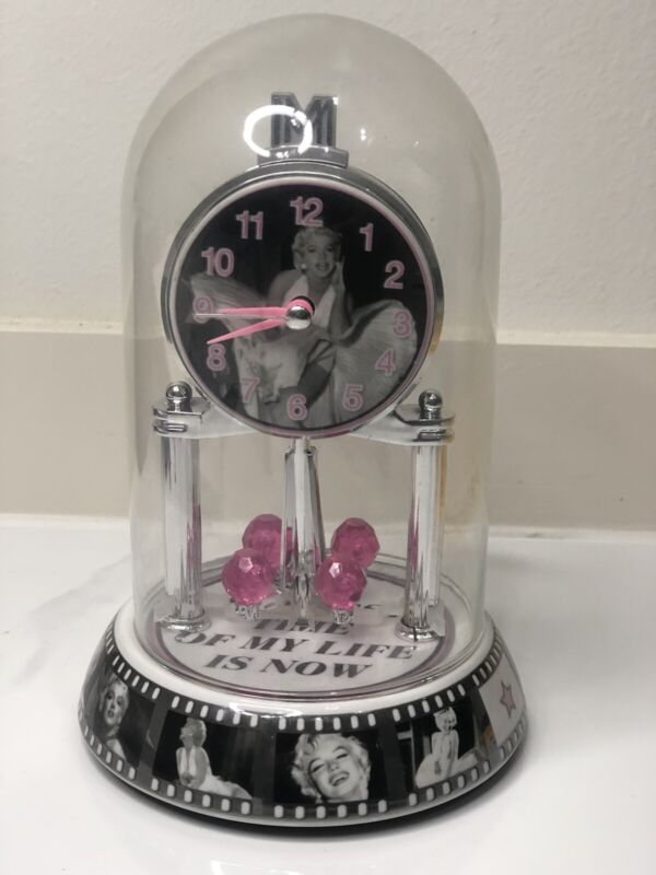 MARILYN MONROE MANTEL CLOCK glass dome The Seven Year Itch Film pink