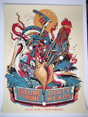 Dirty Heads & Sublime, screen print poster 7/23/21 Key West FL, Ltd #'d ed.125