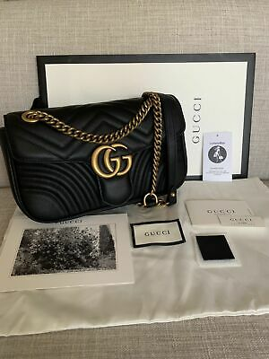 NEW Gucci GG Marmont Leather Black Shoulder Bag Small Size
