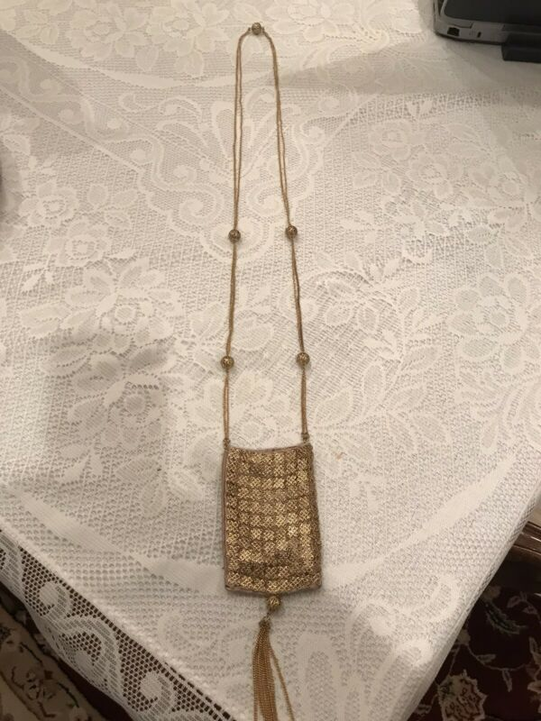 Vintage Goldtone Metal Chain And Satin Purse On 44 in Chain With Filigree Balls