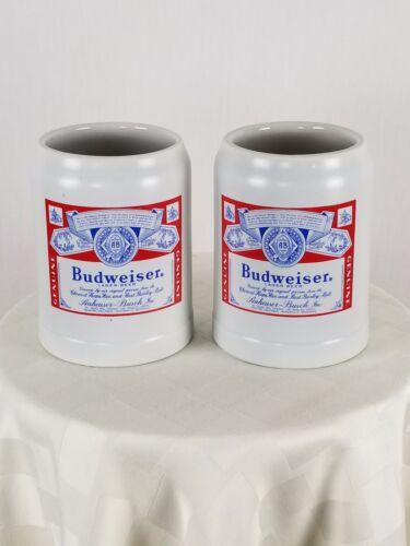 CERAMARTE Budweiser Advertising Stein Mug Total of 2 Mugs