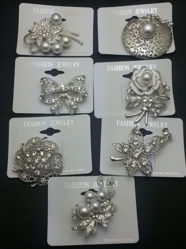 A-70C Wholesale Lot 7 Pins  Vintage Style  Brooches Pins Clear  Bouquet
