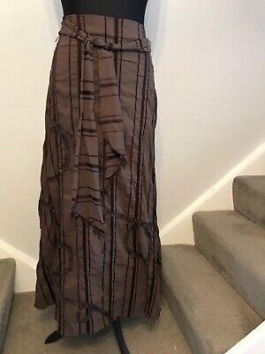 Per Una gorgeous vintage steampunk boho brown maxi skirt size 16 long