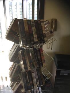 2x vcr, approx 120 vhs movies, 2 x speakers, cabinet