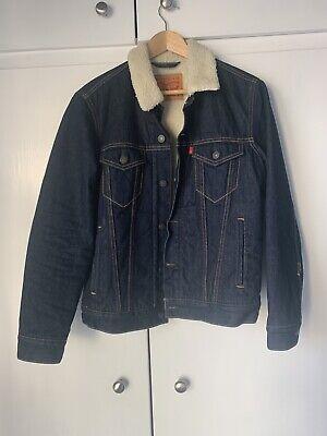 Levis Dark Blue Sherpa Fur Lined Men's Denim Long Sleeve Jacket Size S New