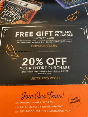 Bath And Body Works 20 Off Coupon Gift Expires 10-4-20  - $10.50