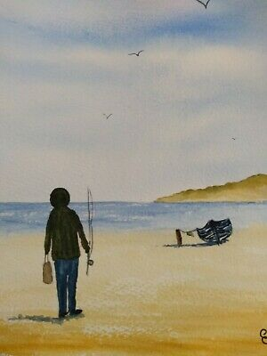 Original Watercolour painting. Dad's gone fishing.