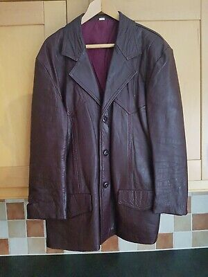 Brown / Red Leather Mens Jacket / Coat, Good Condition, Size Uk Mens LARGE