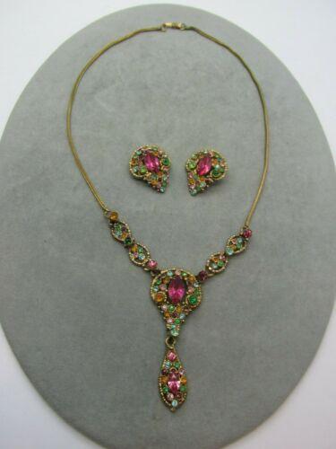 Antique Art Deco pot metal Fruit Salad Rhinestone Drop Necklace & Earrings Set