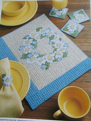 Floral Dining Set Plastic Canvas Patterns - Place Mat, Coasters, & Napkin Ring
