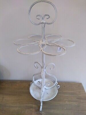 Vintage Style White Hoops Shabby Chic Metal Umbrella Stand 6 ring Hall...
