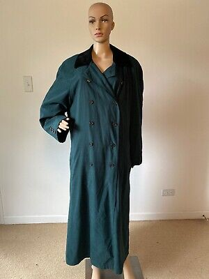 Anne Klein II Green Full Length Trench Coat Removable Wool Blend Liner 14 L/XL
