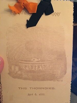 1888 Thorndike Club Macabe Halloween Dinner Invitation Skeleto & Devils Antique