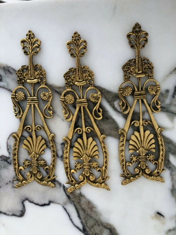 PE Guerin ANTIQUE ORNATE Empire APPLIQUE TRIM FURNITURE Gold Brass