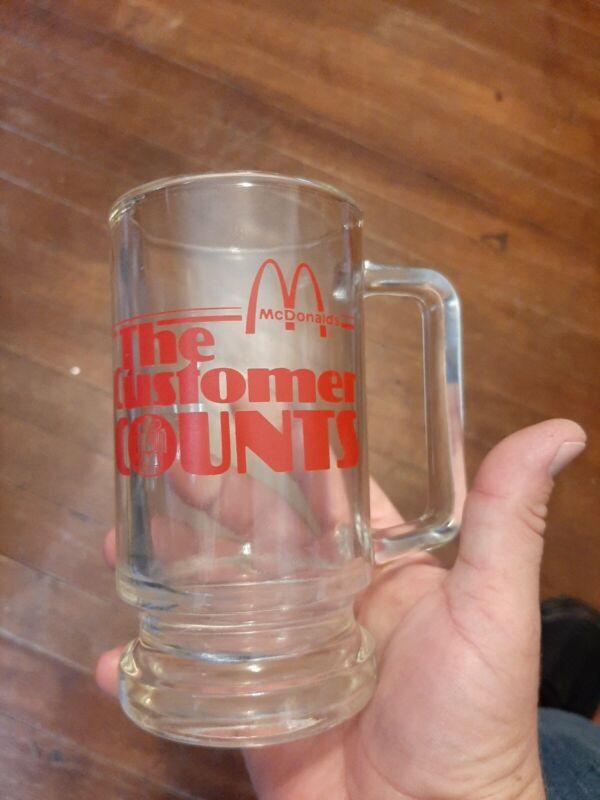 Vintage Mcdonalds Employee Clear Glass Mug/cup